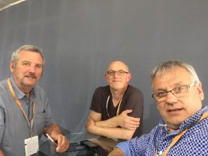 Roland, Alain et René, les dirigeants de Roudenn Grafik à Drupa 2016