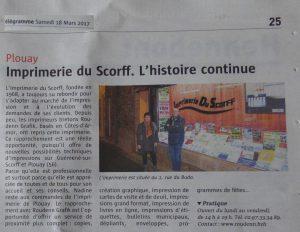 Imprimerie du Scorff. L'histoire continue. Le Télégramme 18/03/2017