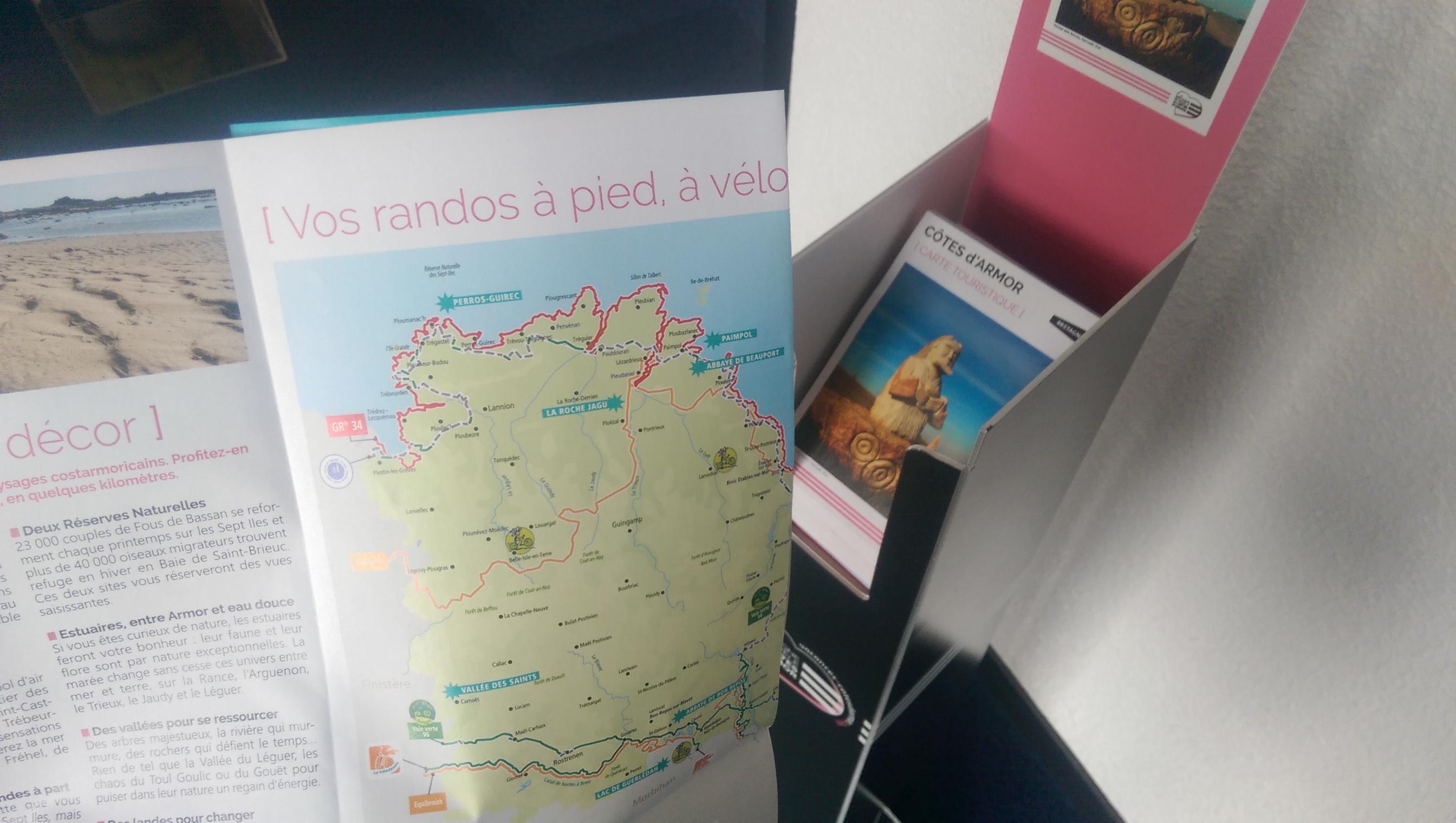carte touristique rando 2017 Côtes d'Armor