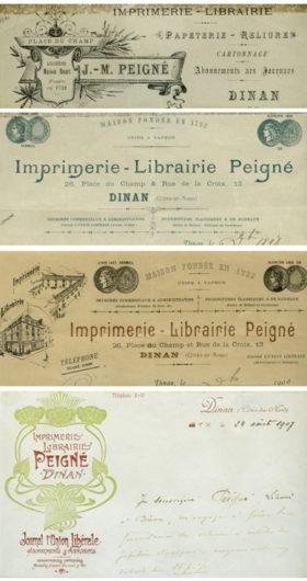 Imprimés historiques de l'Imprimerie Peigné Dinan