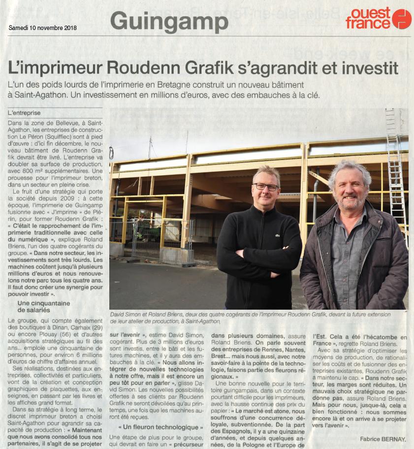 18 Novembre 2018 - Ouest France - L'imprimeur Roudenn Grafik et investit