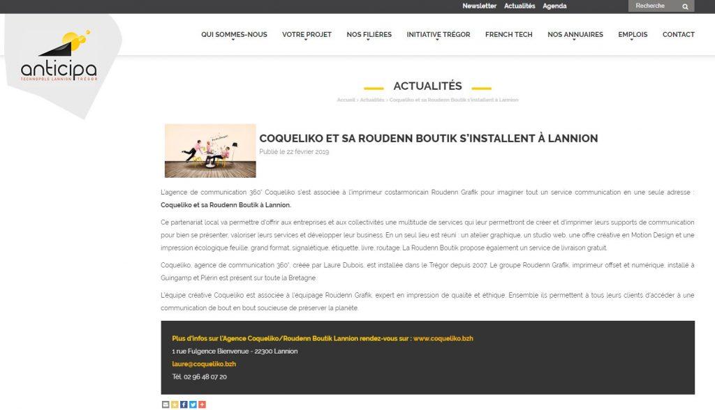 Article Anticipa Roudenn Boutik Lannion
