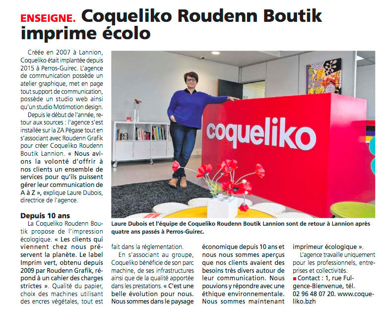 Article Trégor - Roudenn Boutik Lannion Coqueliko 20190424