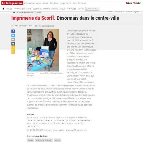 Article Imprimerie du Scorff Roudenn Boutik - Le Télégramme Mai 2019
