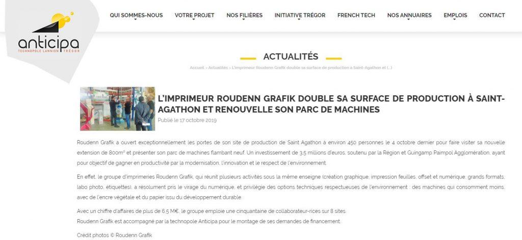 Octobre 2019 – Anticipa – L'imprimeur breton Roudenn Grafik double sa surface de production à Saint-Agathon et renouvelle son parc machines