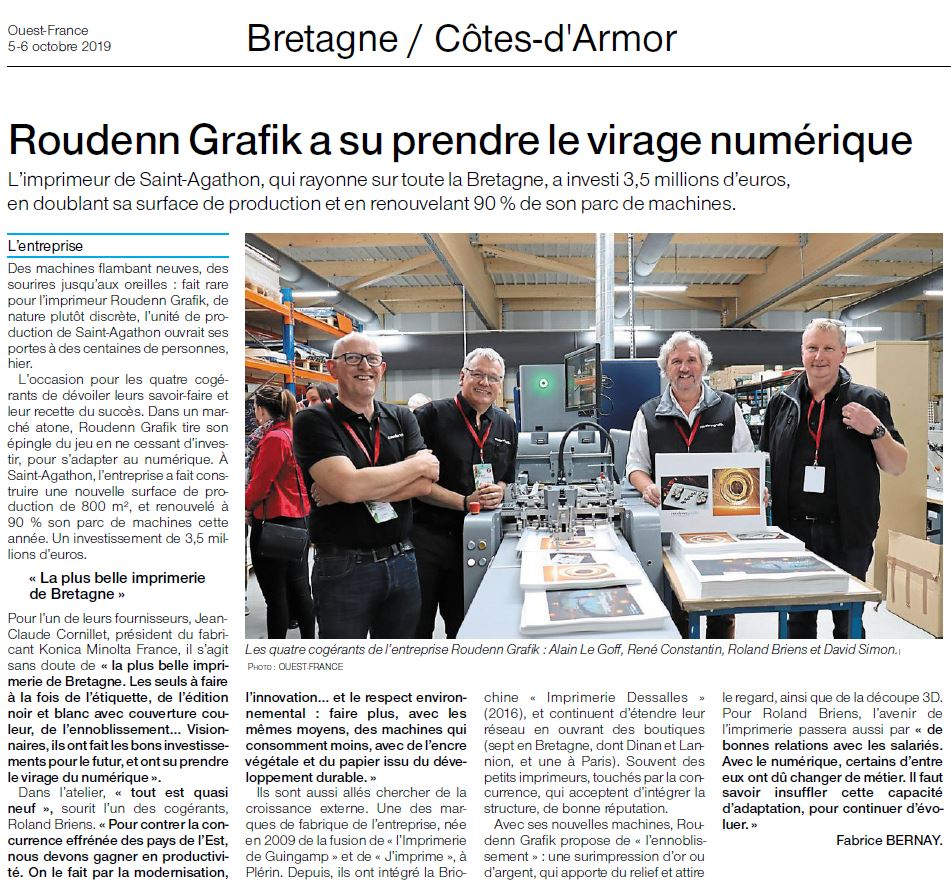 Octobre 2019 - Ouest France - L'imprimeur Roudenn Grafik a pris le virage du numérique