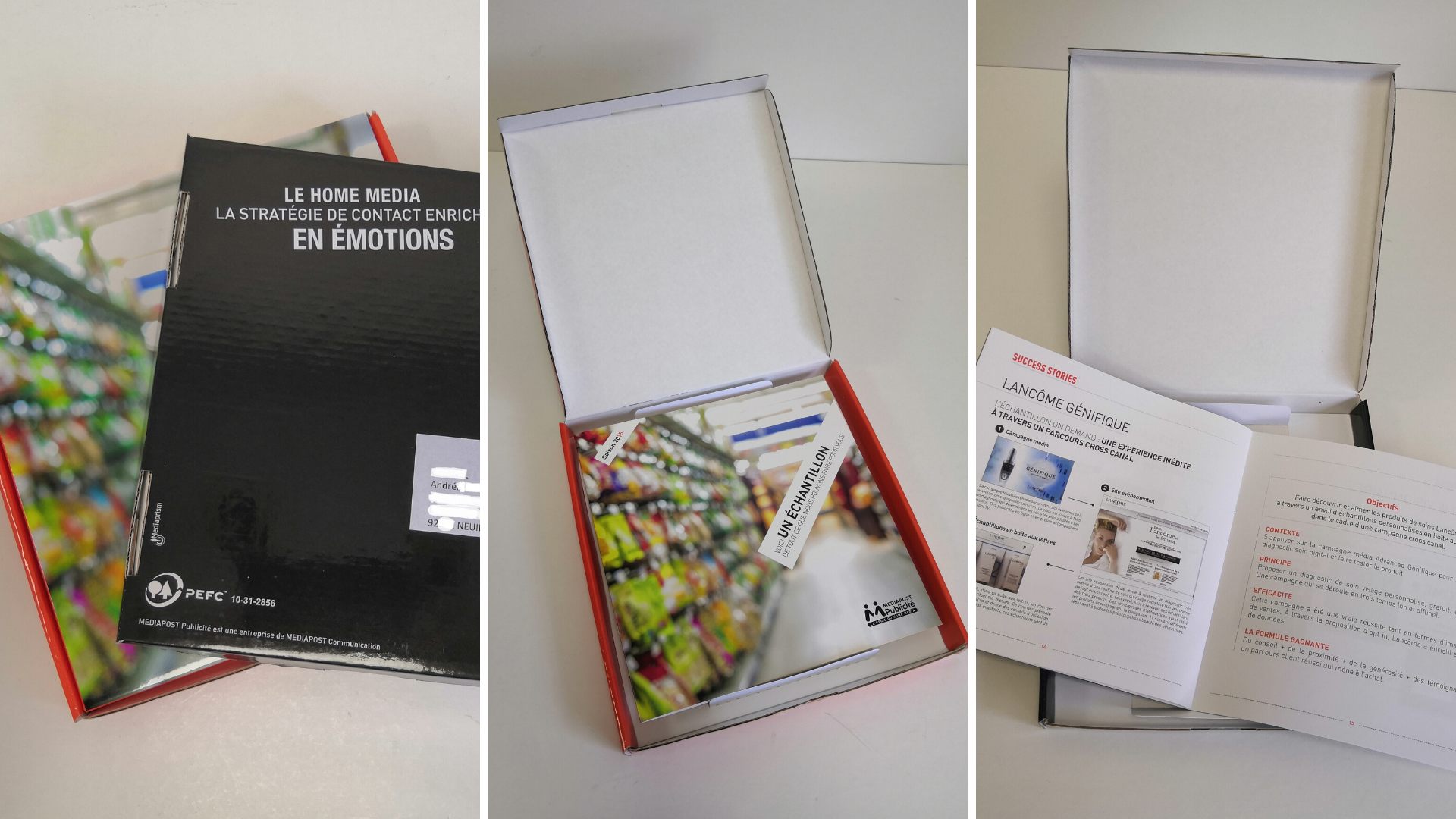 Fabrication de coffret carton contenant des goodies et imprimés. Affranchissement et dépôt poste pour le compte de Médiapost publicité.
