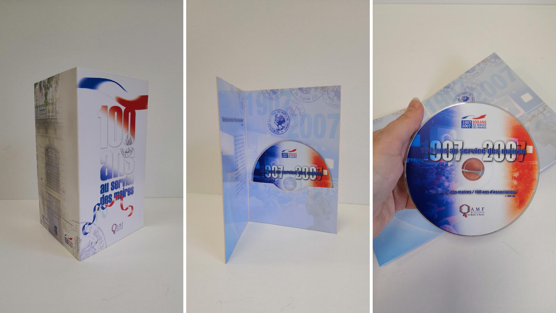 Fabrication d'un coffret porte DVD pour l'AMF. Gravage à partir du film fournis par l'agence Mise souS film et distribution au congrès des MAIRES DE FRANCE